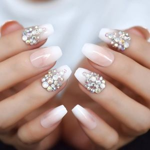 Pre-designed Nails with Rhinestones